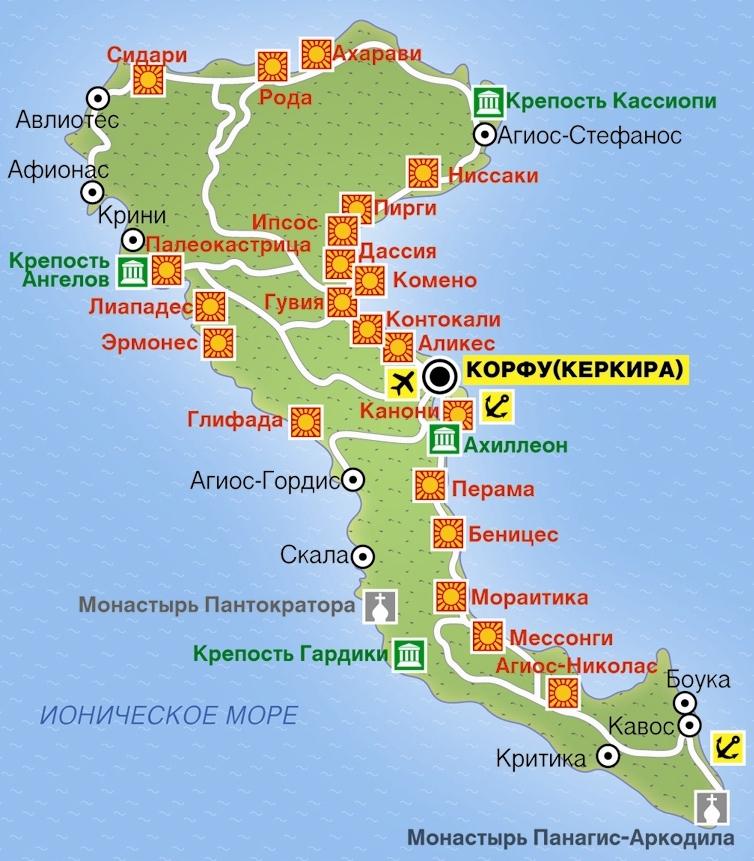 Корфу карта