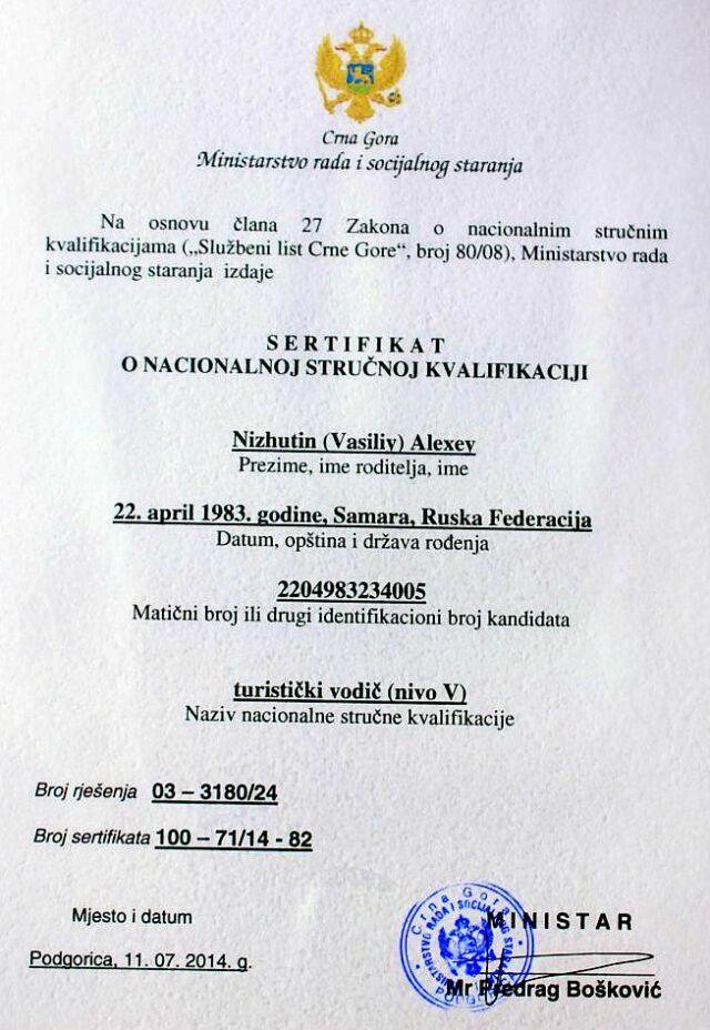 Сертификат гида Черногория